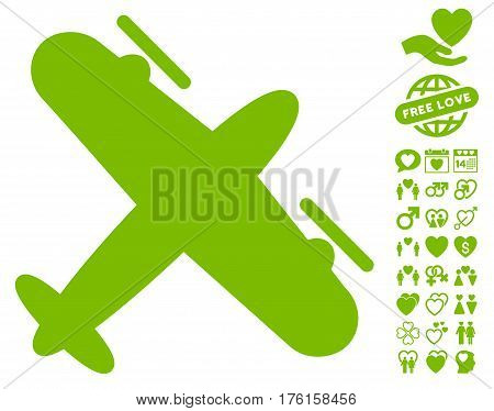 Propeller Aircraft pictograph with bonus valentine images. Vector illustration style is flat iconic eco green symbols on white background.