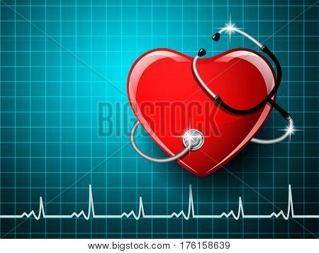 Stethoscope medical equipment heart shape on the monitor screen background. Vector illustration.