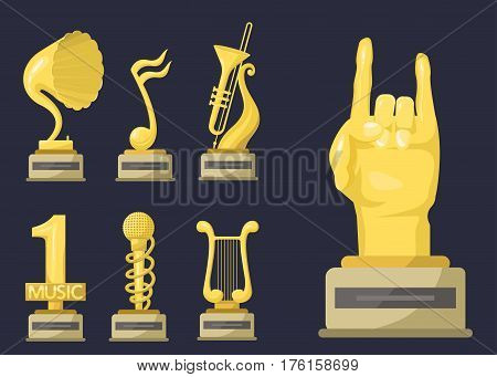 Gold rock star trophy music notes best entertainment win achievement clef and sound shiny golden melody success prize pedestal victory vector illustration. Champion competition honor sign.