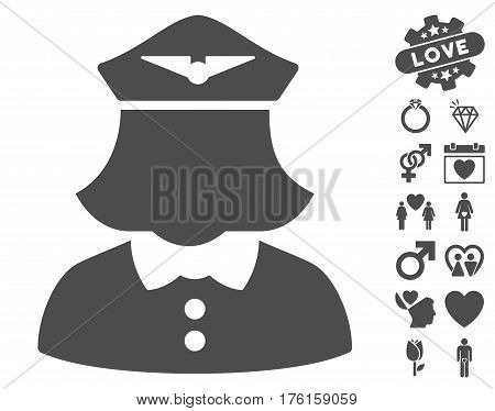Airline Stewardess icon with bonus love design elements. Vector illustration style is flat iconic gray symbols on white background.