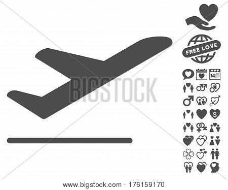 Airplane Departure icon with bonus dating pictograph collection. Vector illustration style is flat iconic gray symbols on white background.