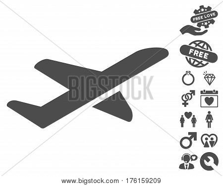 Airplane Takeoff pictograph with bonus dating pictograph collection. Vector illustration style is flat iconic gray symbols on white background.