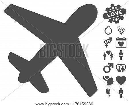 Airplane icon with bonus lovely symbols. Vector illustration style is flat iconic gray symbols on white background.