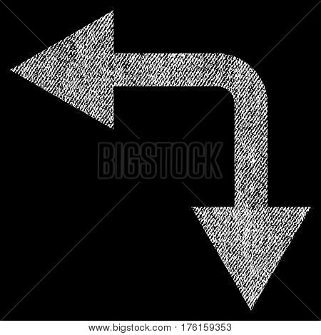 Bifurcation Arrow Left Down vector textured icon for overlay watermark stamps. Fabric white vectorized texture. Symbol with scratched design. Rubber seal stamp with fiber textile structure.