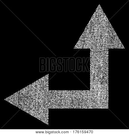 Bifurcation Arrow Left Up vector textured icon for overlay watermark stamps. Fabric white vectorized texture. Symbol with unclean design. Rubber seal stamp with fiber textile structure.