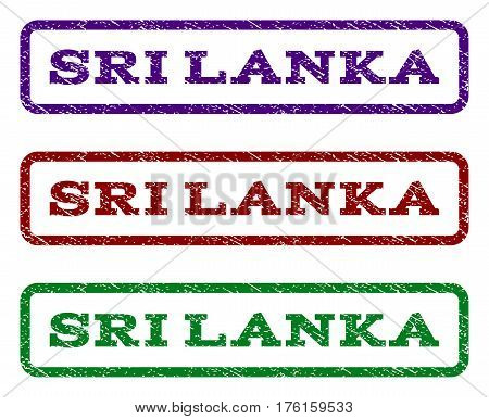 Sri Lanka watermark stamp. Text tag inside rounded rectangle with grunge design style. Vector variants are indigo blue, red, green ink colors. Rubber seal stamp with dust texture.