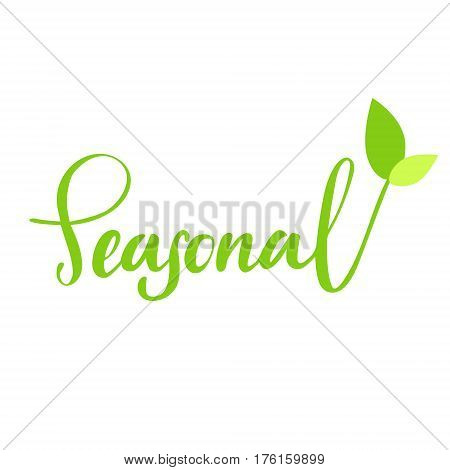 Seasonal hand drawn logo, lable. Vector illustration eps 10 for food and drink, restaurants, menu, bio markets and organic products. Brush lettering, calligraphy