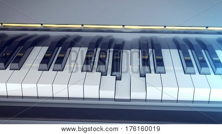 Grand piano keyboard is pressed. 3d rendering. Classic music concept.