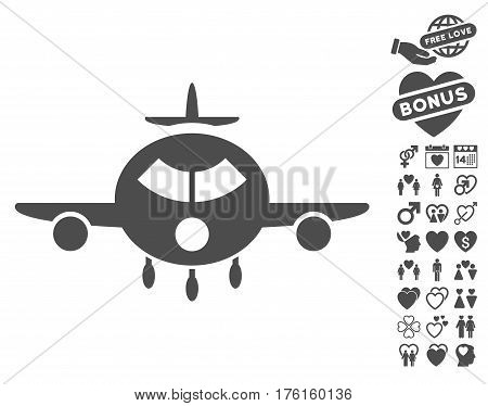 Cargo Aircraft icon with bonus lovely pictograms. Vector illustration style is flat iconic gray symbols on white background.