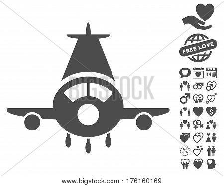 Cargo Plane icon with bonus love images. Vector illustration style is flat iconic gray symbols on white background.