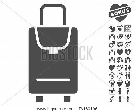 Carryon pictograph with bonus dating images. Vector illustration style is flat iconic gray symbols on white background.