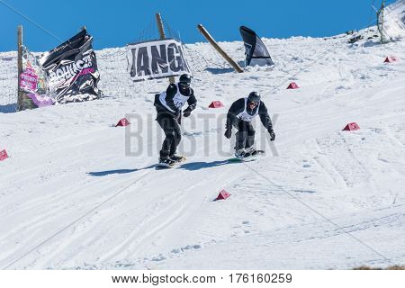 Manuel Mendes And Tim Clasing During The Snowboard National Championships