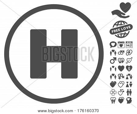 Helicopter Landing pictograph with bonus love design elements. Vector illustration style is flat iconic gray symbols on white background.