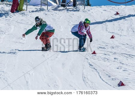 Tiago Sousa And Diogo Pombeiro During The Snowboard National Championships