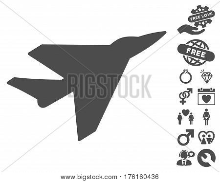 Intercepter pictograph with bonus love pictograms. Vector illustration style is flat iconic gray symbols on white background.