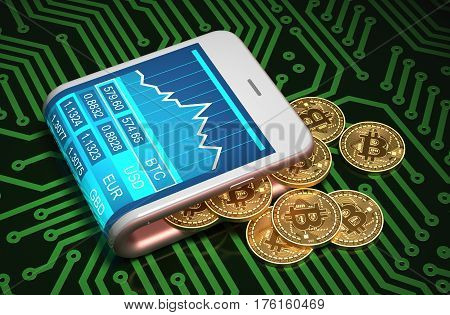 Concept Of Digital Wallet And Bitcoins On Printed Circuit Board. Gold Bitcoins Spill Out Of The Pink Curved Smartphone. 3D Illustration.