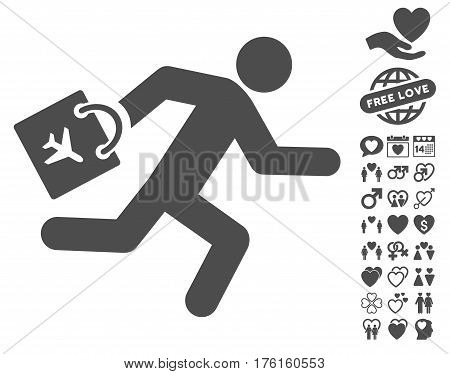 Late Airport Passenger pictograph with bonus love pictograph collection. Vector illustration style is flat iconic gray symbols on white background.
