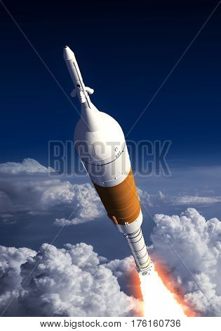 Carrier Rocket Launch In The Clouds. 3D Illustration.