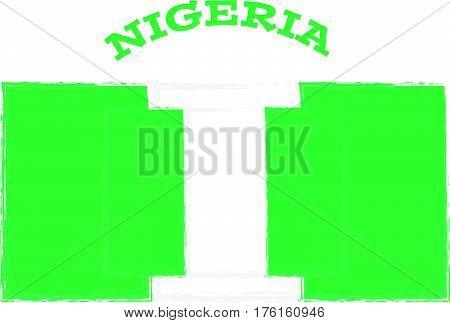 Nigeria flag on white background. Vector illustration.