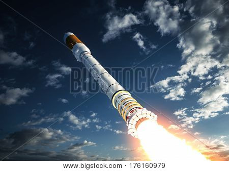 Carrier Rocket Takes Off In The Clouds. 3D Illustration.