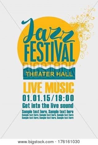 Template Poster for jazz festival live music with a sun and sea