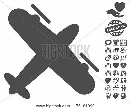 Propeller Aircraft pictograph with bonus love icon set. Vector illustration style is flat iconic gray symbols on white background.