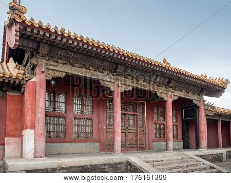 Beijing, China - Oct 30, 2016: The complex architectural design of an old palace residential outhouse inside Forbidden City (Gu Gong, Palace Museum).