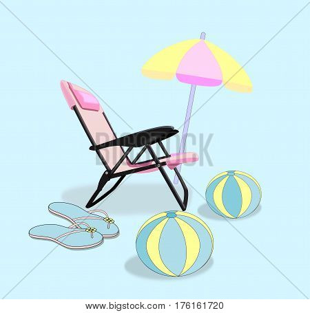 A pink folding chair, a parasol, a pair of flip flop sandals, and two beach balls.