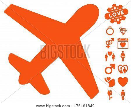 Airplane icon with bonus valentine pictograph collection. Vector illustration style is flat iconic orange symbols on white background.