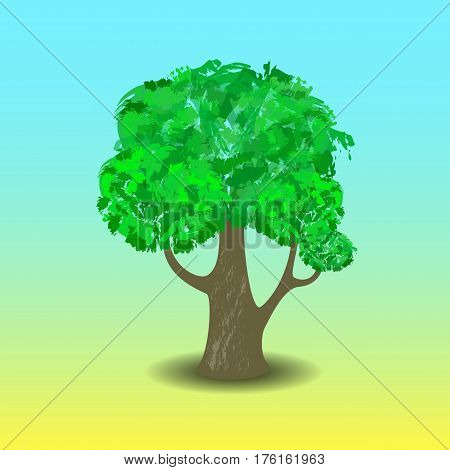 Green tree vector illustration with hand-painted leaf crown. Handdrawn tree with shadow. Summer tree with branches and leaf in cartoon style. Comic tree isolated. Forest plant icon. Earth care symbol