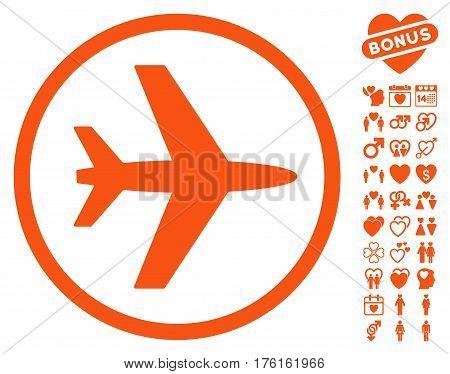 Airport pictograph with bonus valentine icon set. Vector illustration style is flat iconic orange symbols on white background.