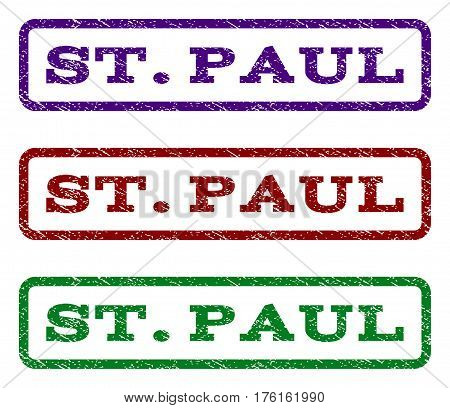 St.Paul watermark stamp. Text tag inside rounded rectangle frame with grunge design style. Vector variants are indigo blue, red, green ink colors. Rubber seal stamp with dirty texture.