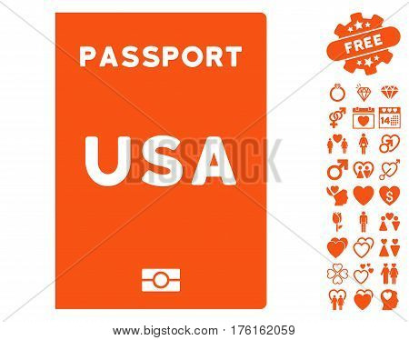 American Passport icon with bonus valentine pictograph collection. Vector illustration style is flat iconic orange symbols on white background.