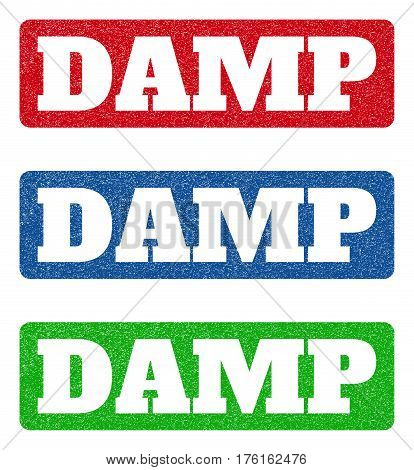 Colored Rubber Seal Stamps With Damp Text Hole. Vector Tag Inside Rounded Rectangular Banner. Grunge