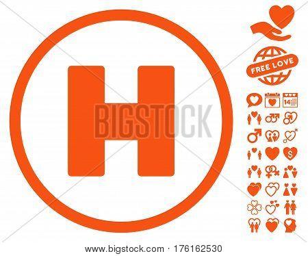 Helicopter Landing pictograph with bonus lovely clip art. Vector illustration style is flat iconic orange symbols on white background.
