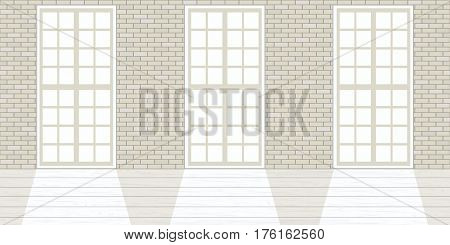 Loft studio Interior. Big windows, brick white walls, sunlight. Luxury modern empty space. Daylight studio, white wooden floor and large industrial windows. Space concept. Mock up template, 3d design