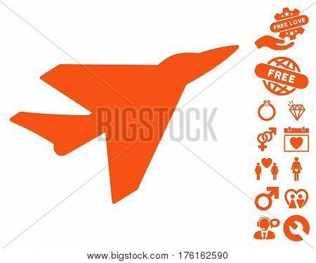 Intercepter pictograph with bonus lovely design elements. Vector illustration style is flat iconic orange symbols on white background.