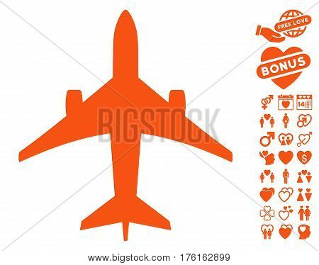 Jet Plane pictograph with bonus love pictograph collection. Vector illustration style is flat iconic orange symbols on white background.
