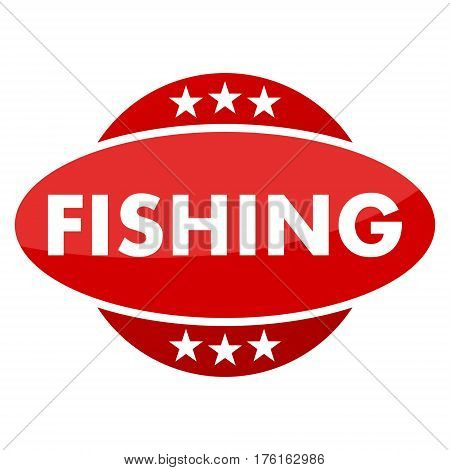 Red button with stars fishing on white background