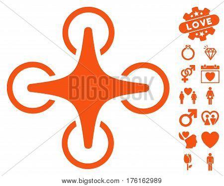 Nanocopter pictograph with bonus dating icon set. Vector illustration style is flat iconic orange symbols on white background.
