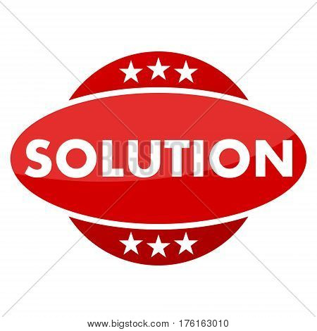 Red button with stars solution on white background