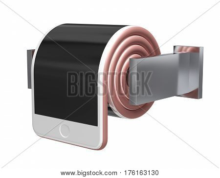 Concept Of Smartphone Like A Toilet Roll On White Background. 3D Illustration.