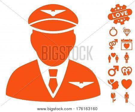 Pilot pictograph with bonus dating pictograms. Vector illustration style is flat iconic orange symbols on white background.