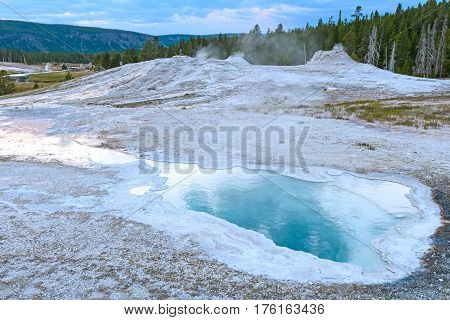 Thermal Pools in Twilight in the Upper Geyser Basin of Yellowstone National Park in Wyoming