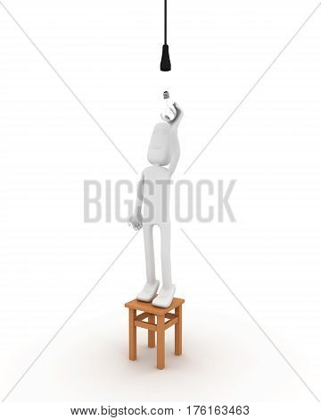 This is a 3D rendered picture. man screwing in the light bulb