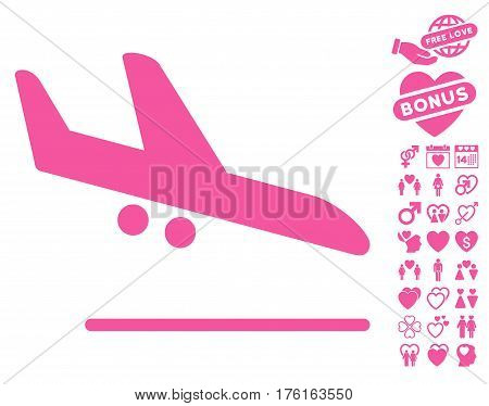 Aiplane Landing icon with bonus valentine icon set. Vector illustration style is flat iconic pink symbols on white background.