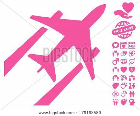 Air Jet Trace pictograph with bonus lovely symbols. Vector illustration style is flat iconic pink symbols on white background.