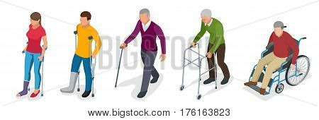 Fracture of leg or leg injury. Young and old people in a gyse with crutches, a wheelchair. Rehabilitation after trauma. Orthopedics and medicine. Flat 3d isometric illustration.