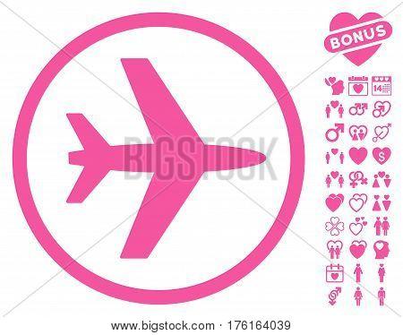 Airport pictograph with bonus valentine symbols. Vector illustration style is flat iconic pink symbols on white background.