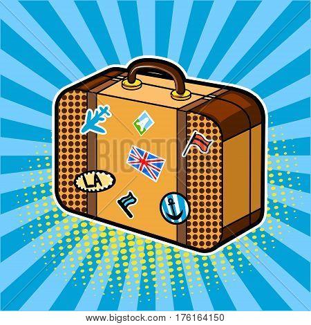 Traveler suitcase comic book pop art retro style vector illustration